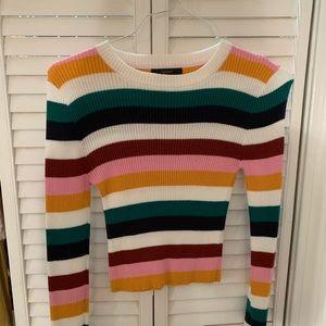 Long-Sleeve Striped Crop-Top